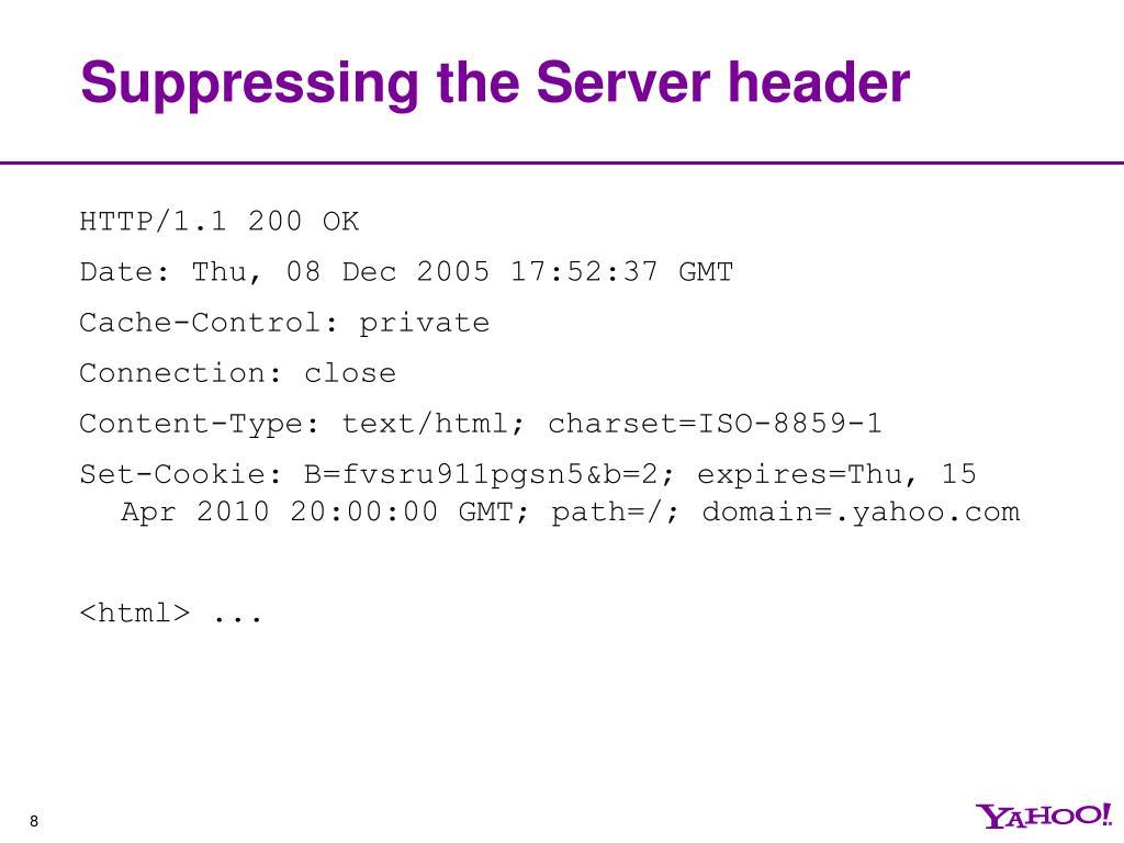 Suppressing the Server header