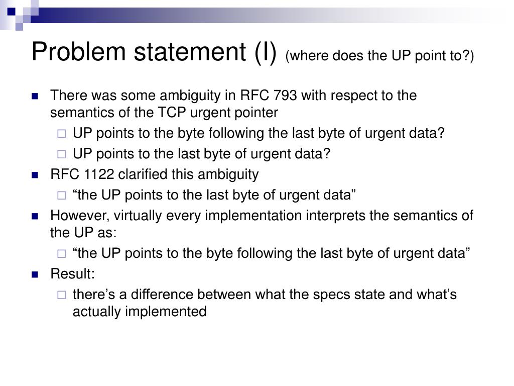 Problem statement (I)