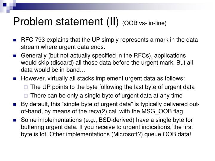 Problem statement ii oob vs in line