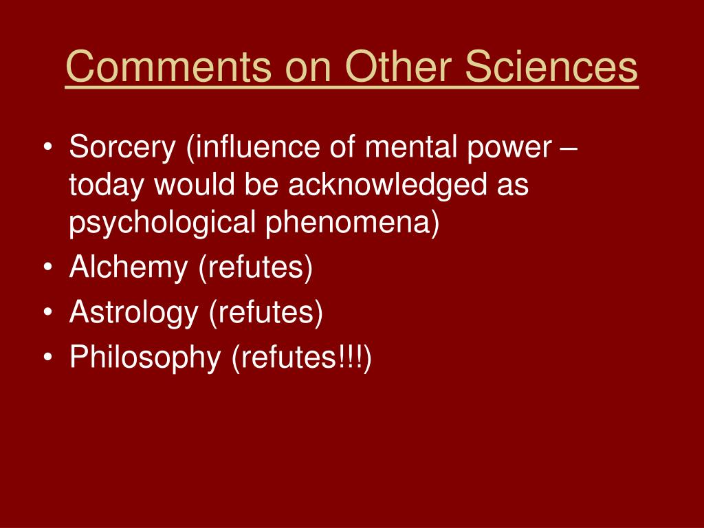 Comments on Other Sciences