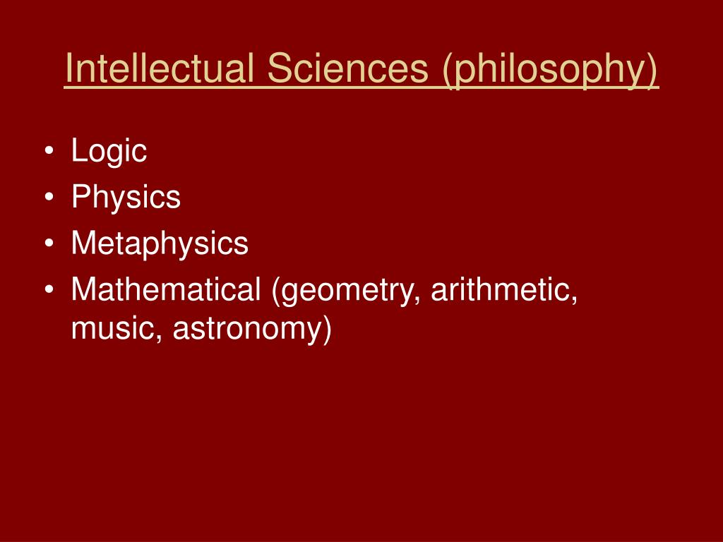 Intellectual Sciences (philosophy)