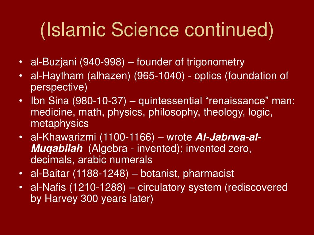 (Islamic Science continued)
