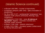 islamic science continued