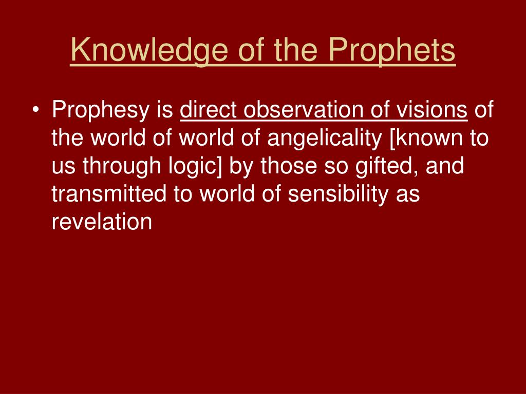 Knowledge of the Prophets