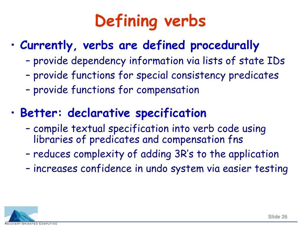 Defining verbs