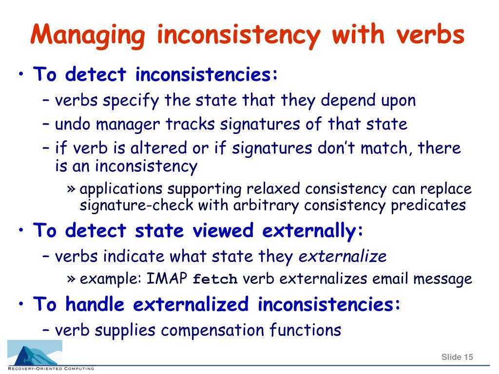 Managing inconsistency with verbs