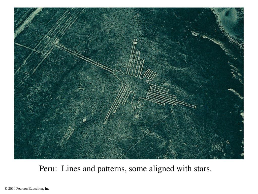 Peru:  Lines and patterns, some aligned with stars.