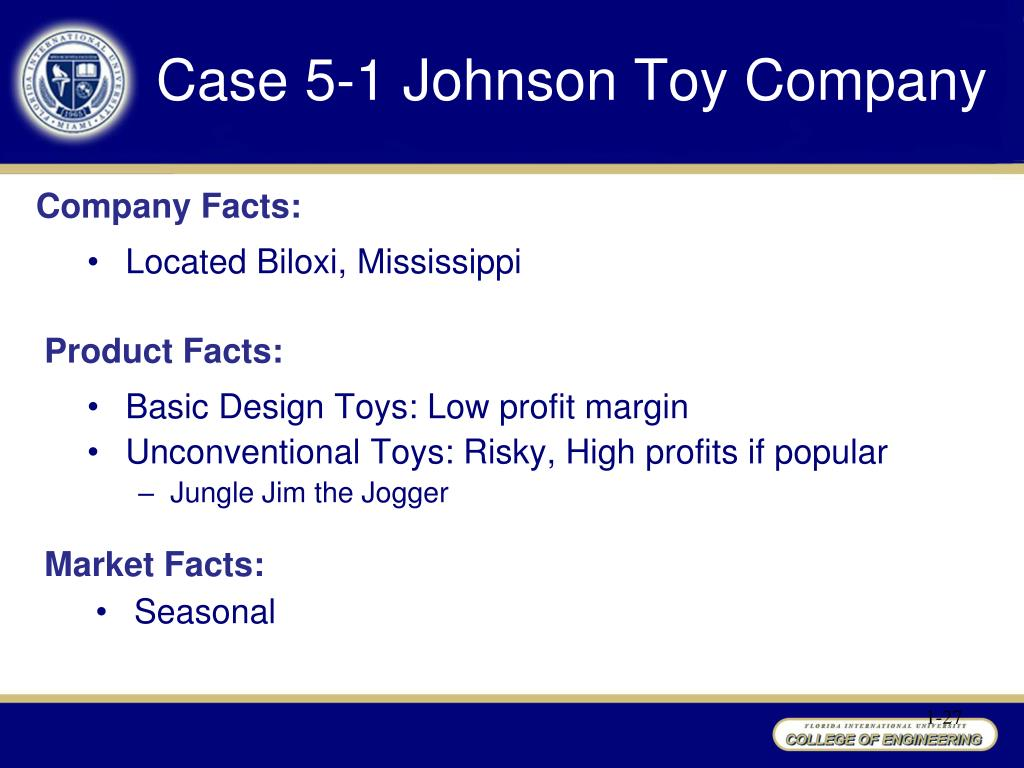 """sales and johnson toy company Logistics 1 – introduction to logistics case 5-1 """"johnson toy company (1) from the standpoint of an individual concerned with accounting controls, discuss and evaluate johnson toy company's present policies for handling returned items from the accounting control perspective, the financial records are."""
