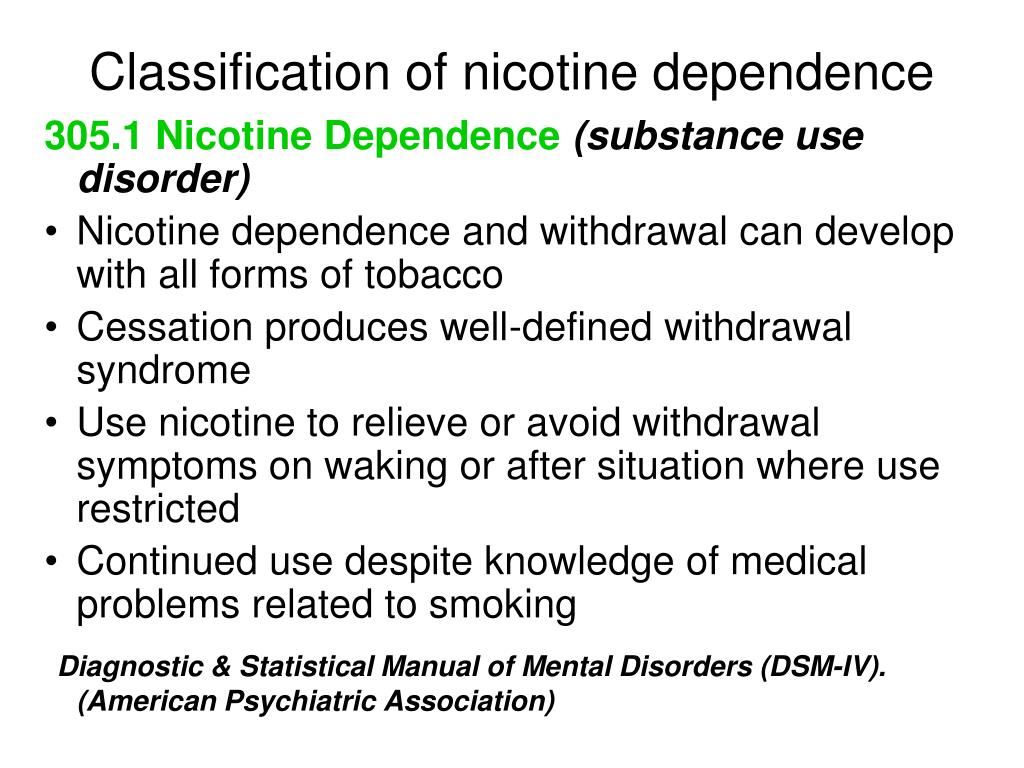 Classification of nicotine dependence
