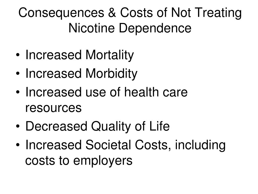 Consequences & Costs of Not Treating Nicotine Dependence