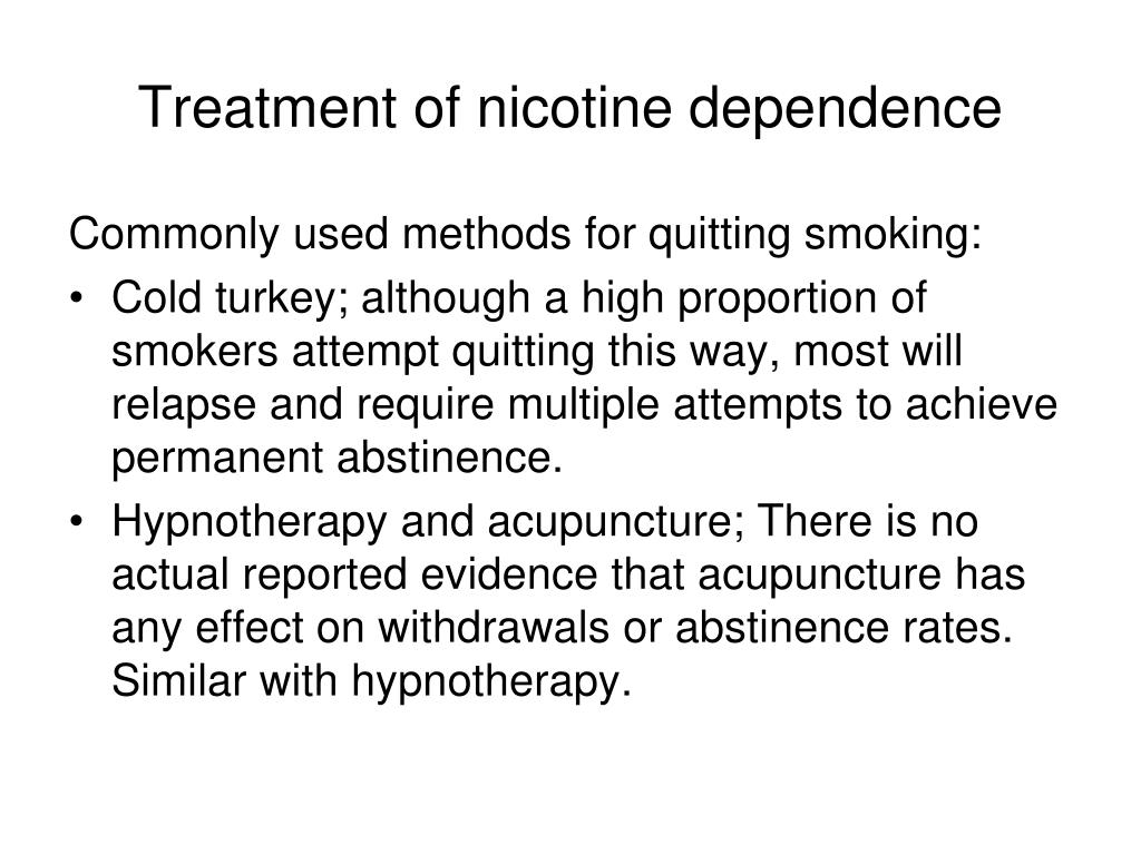 Treatment of nicotine dependence