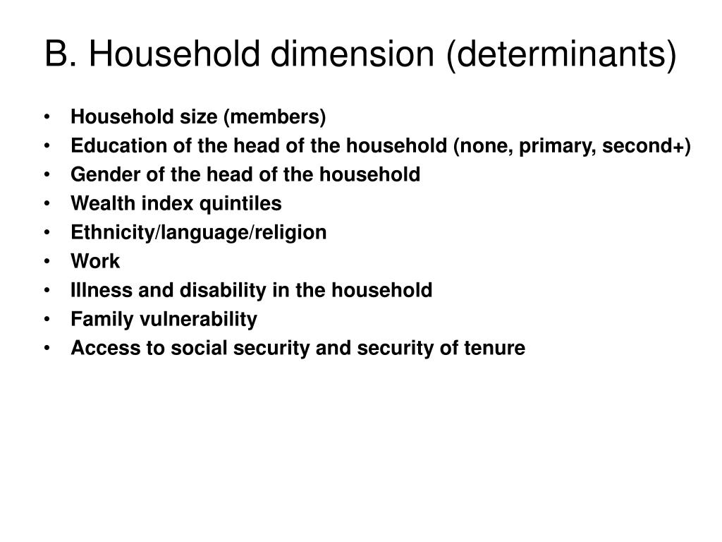 B. Household dimension (determinants)