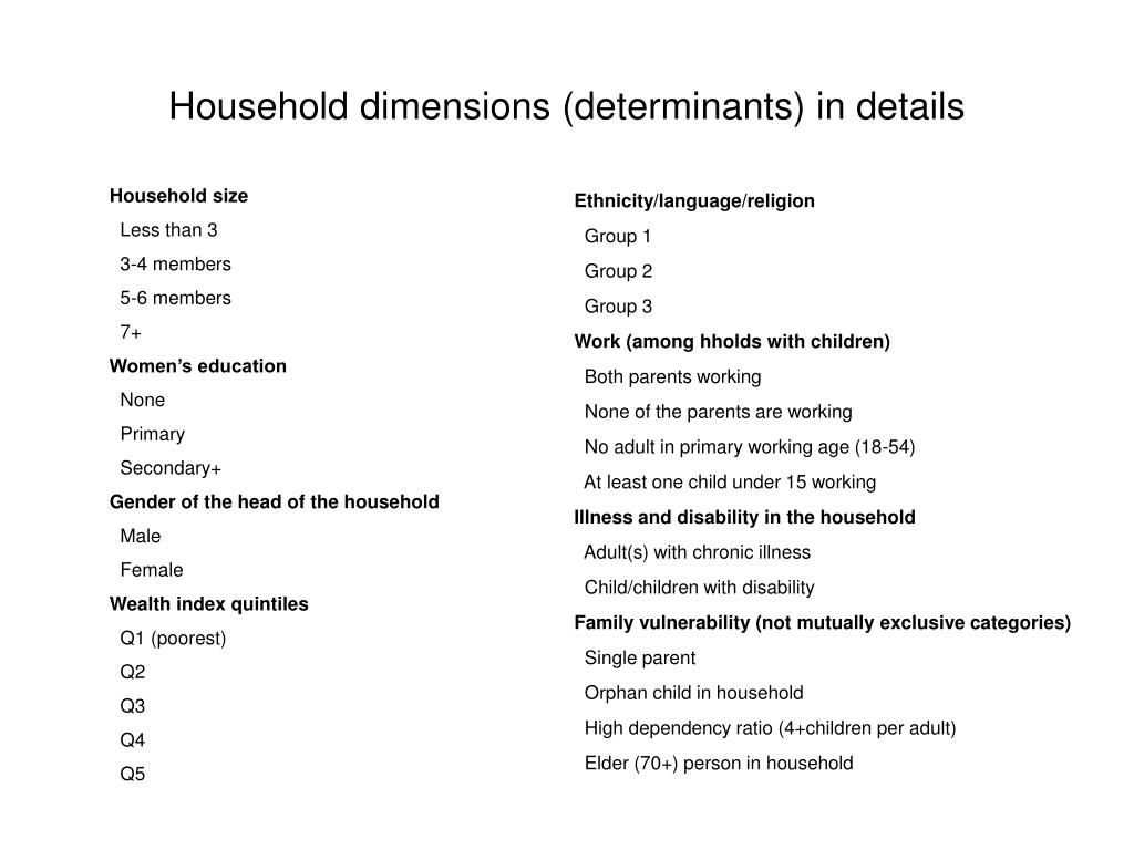 Household dimensions (determinants) in details