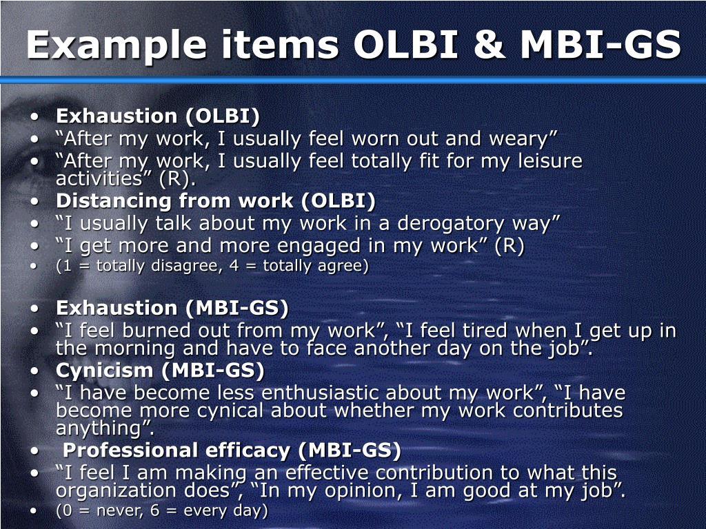 Example items OLBI & MBI-GS