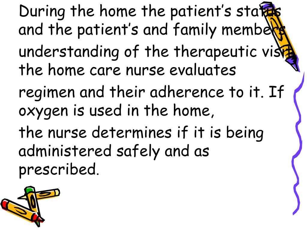 During the home the patient's status and the patient's and family members