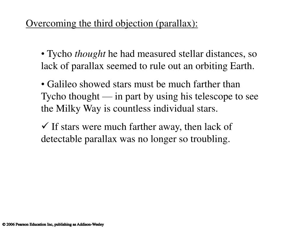 Overcoming the third objection (parallax):