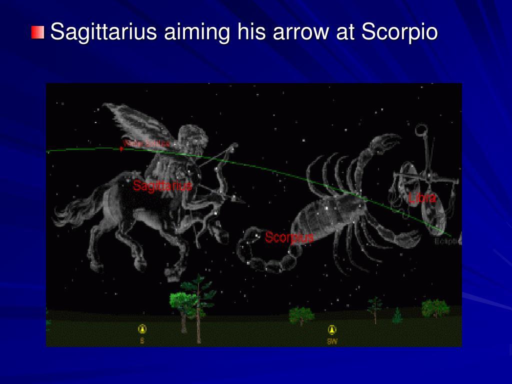 Sagittarius aiming his arrow at Scorpio