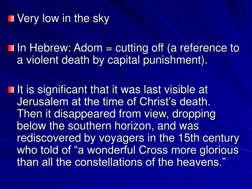 Very low in the sky