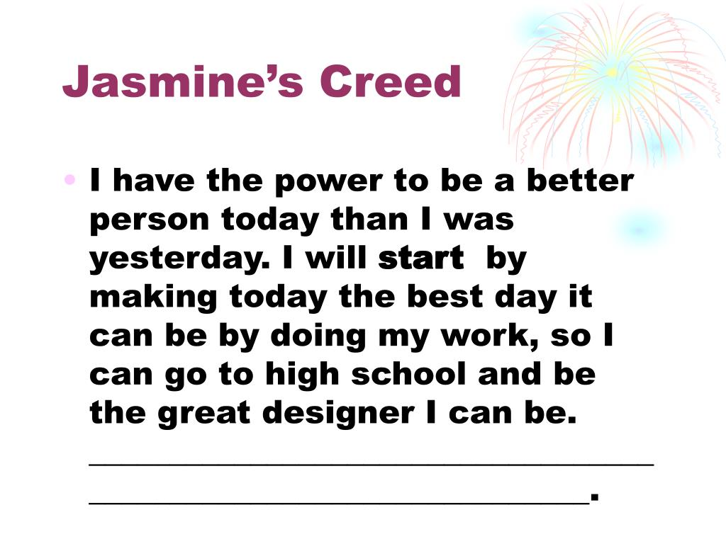 Jasmine's Creed