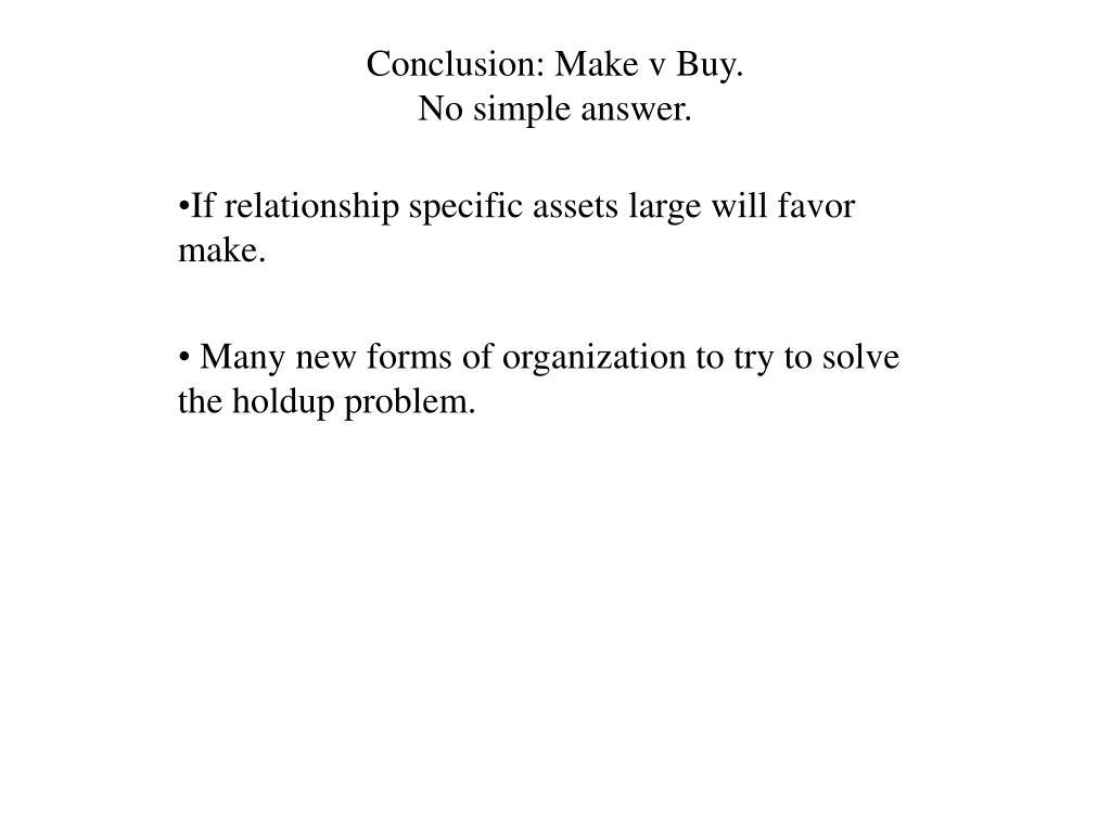 Conclusion: Make v Buy.