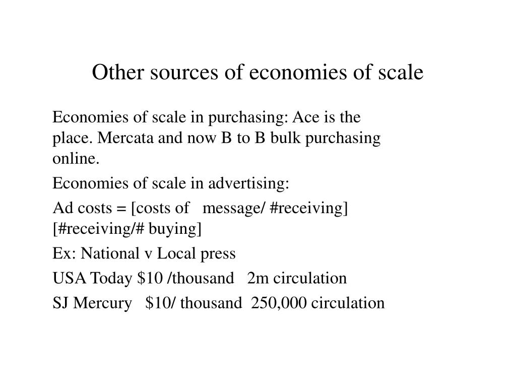 Other sources of economies of scale