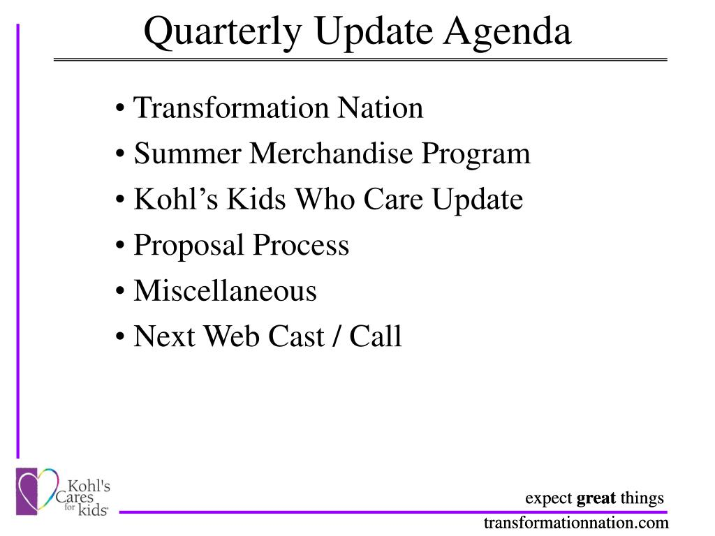 Quarterly Update Agenda