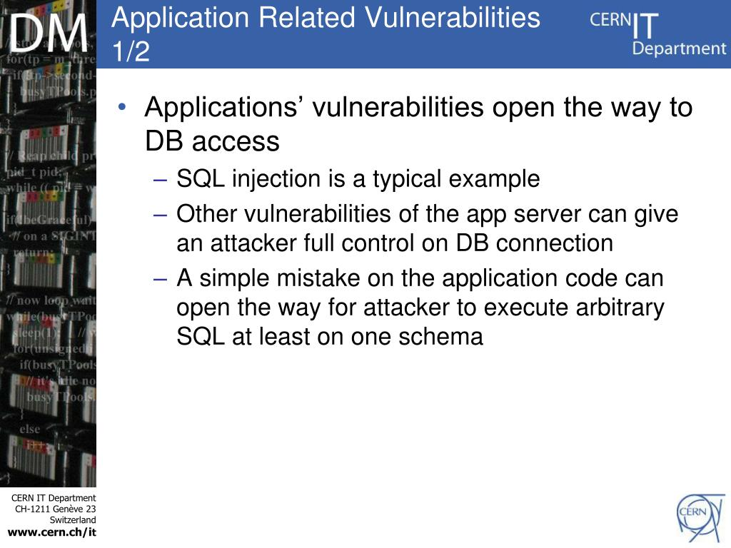 Application Related Vulnerabilities 1/2
