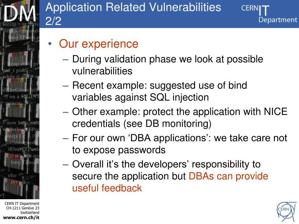 Application Related Vulnerabilities 2/2
