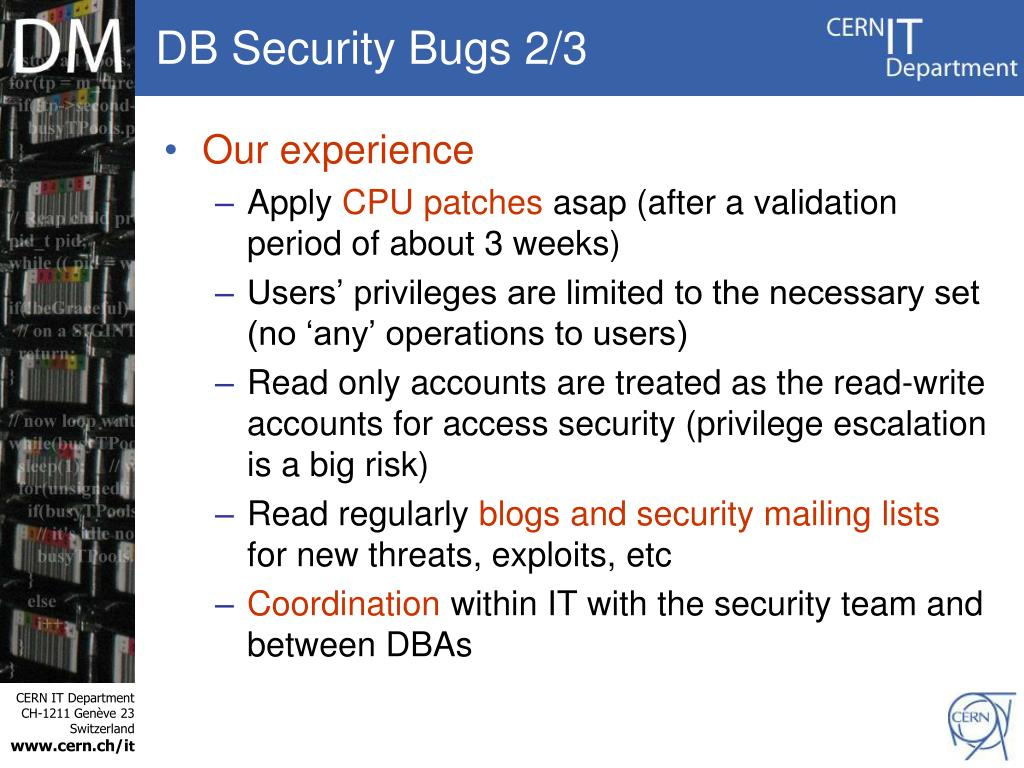 DB Security Bugs 2/3