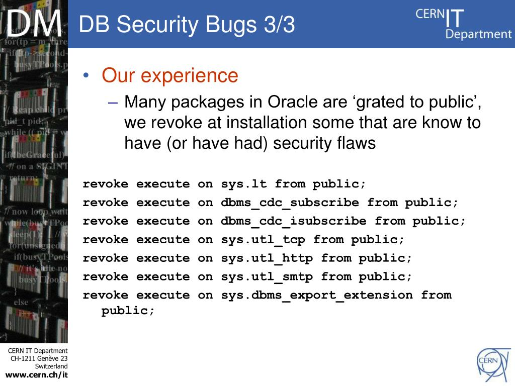 DB Security Bugs 3/3