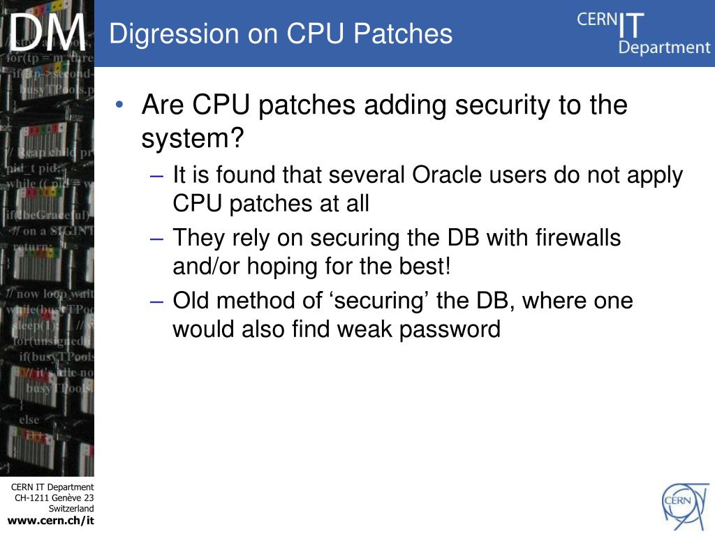 Digression on CPU Patches