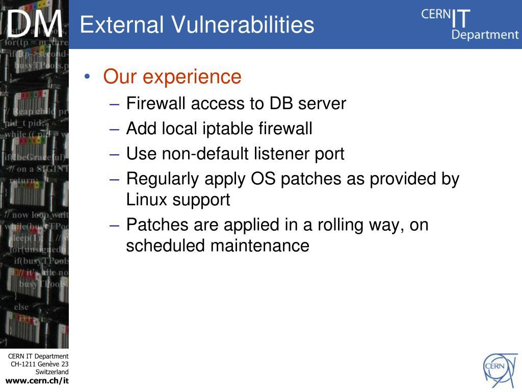 External Vulnerabilities