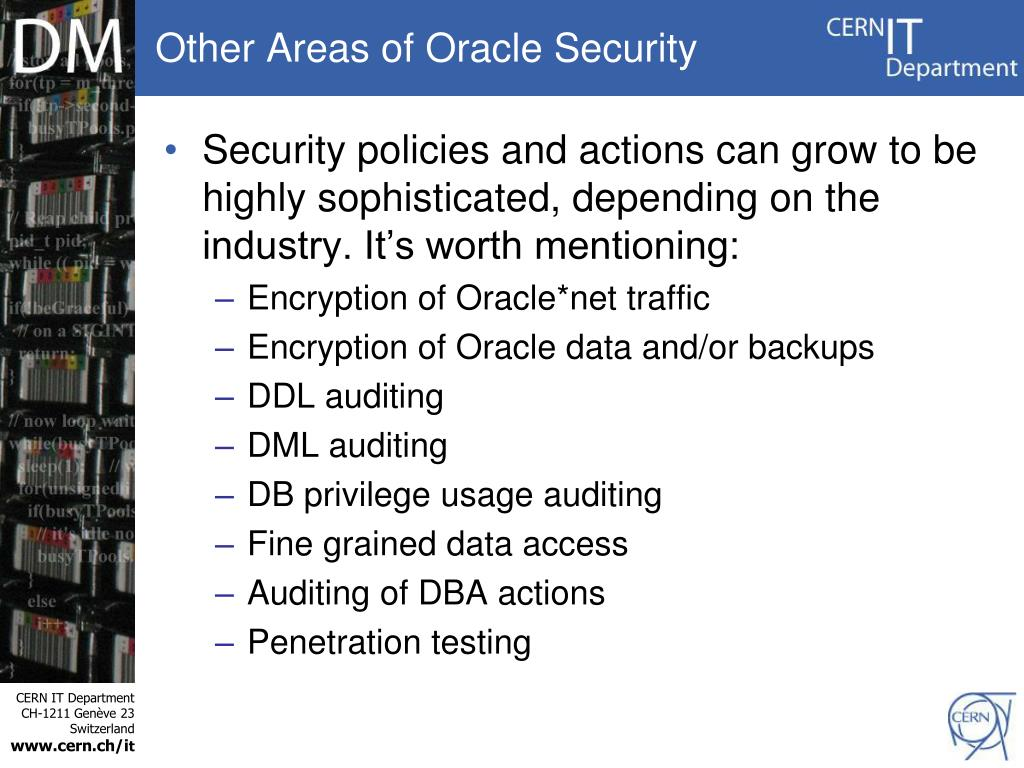 Other Areas of Oracle Security