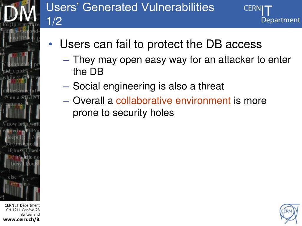 Users' Generated Vulnerabilities 1/2