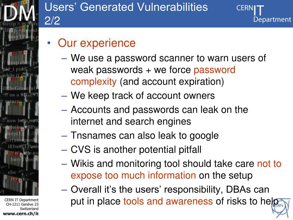 Users' Generated Vulnerabilities 2/2