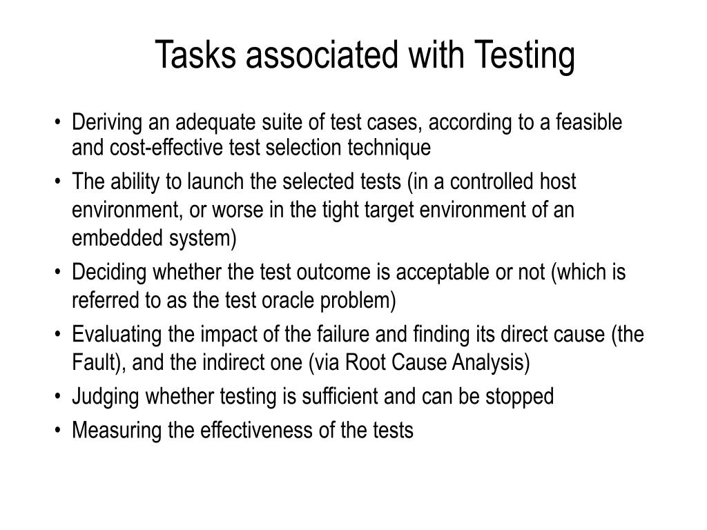 Tasks associated with Testing