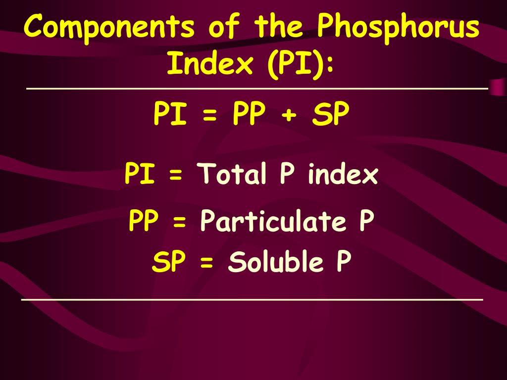 Components of the Phosphorus Index (PI):