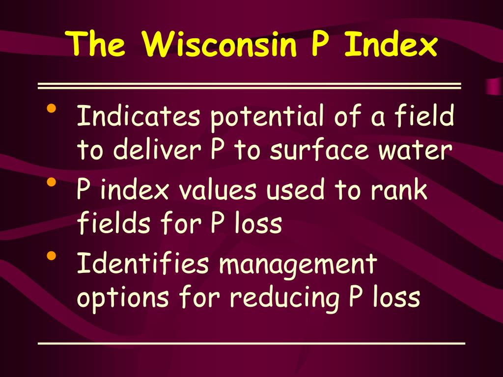 The Wisconsin P Index