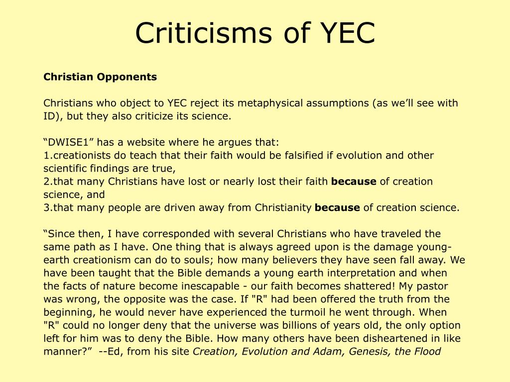 Criticisms of YEC