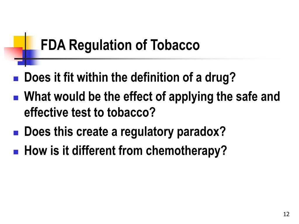 FDA Regulation of Tobacco