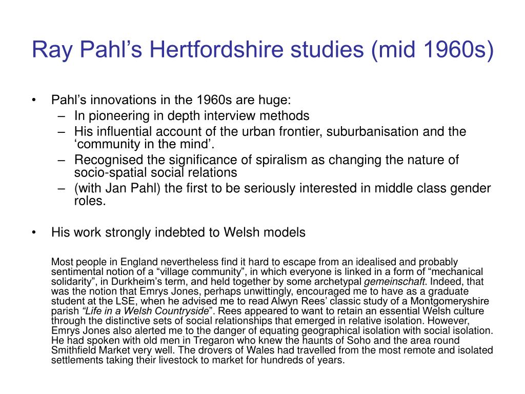 Ray Pahl's Hertfordshire studies (mid 1960s)