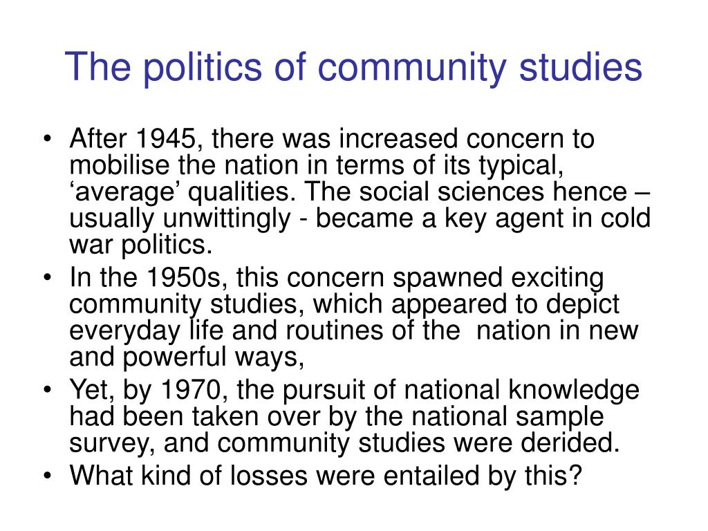 The politics of community studies