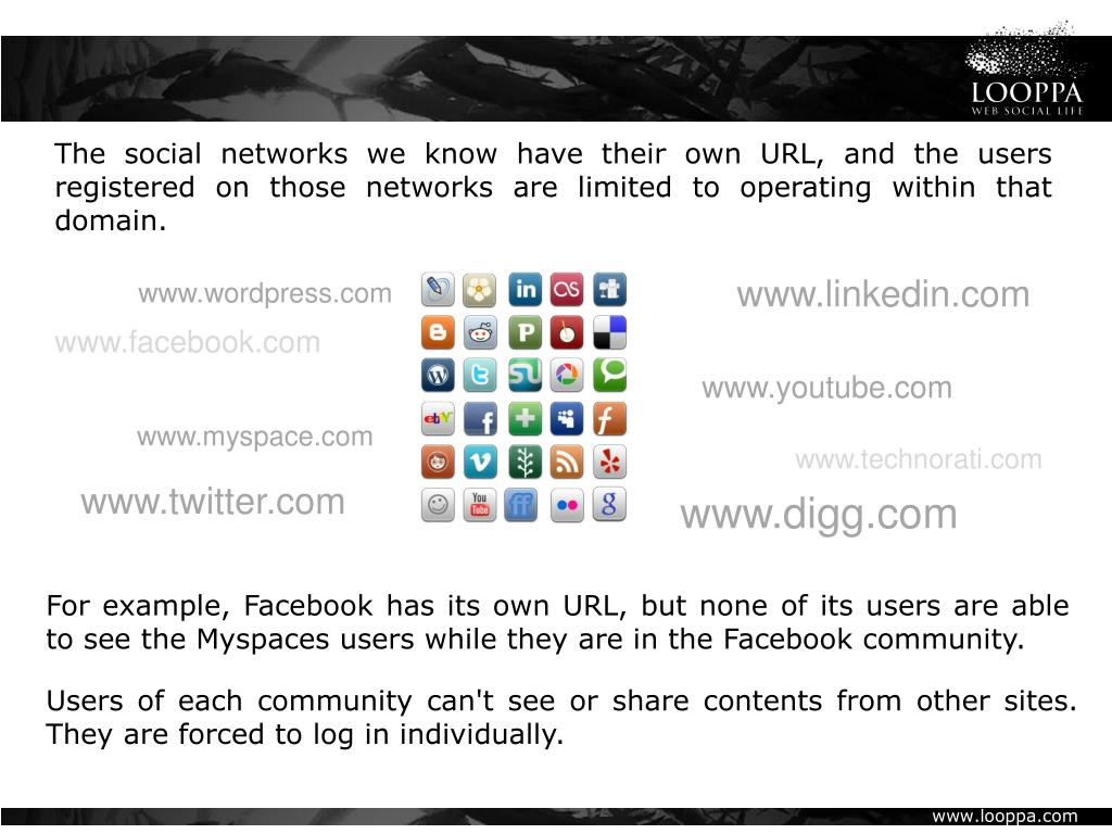 The social networks we know have their own URL, and the users registered on those networks are limited to operating within that domain.