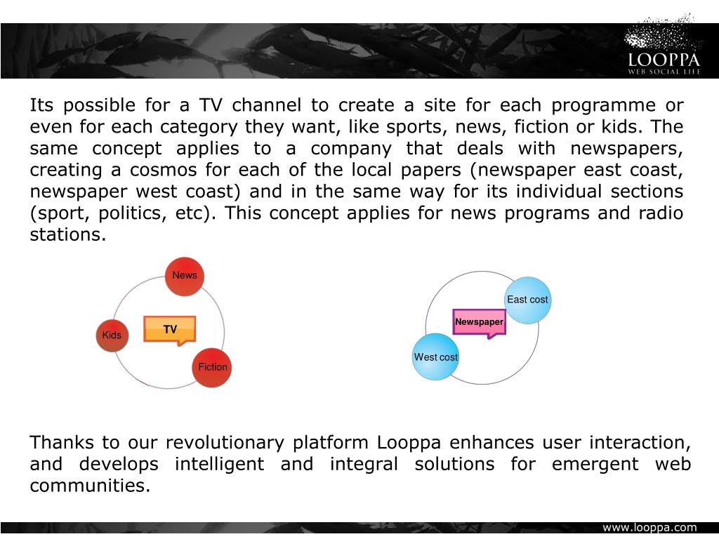 Its possible for a TV channel to create a site for each programme or even for each category they want, like sports, news, fiction or kids. The same concept applies to a company that deals with newspapers, creating a cosmos for each of the local papers (newspaper east coast, newspaper west coast) and in the same way for its individual sections (sport, politics, etc). This concept applies for news programs and radio stations.