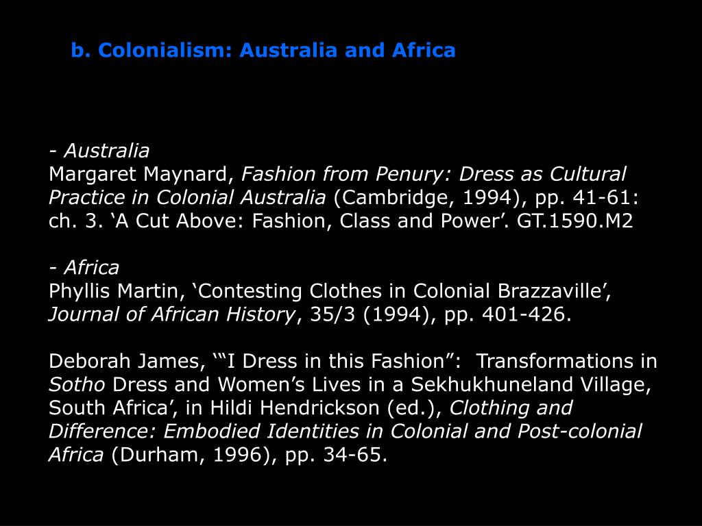 b. Colonialism: Australia and Africa