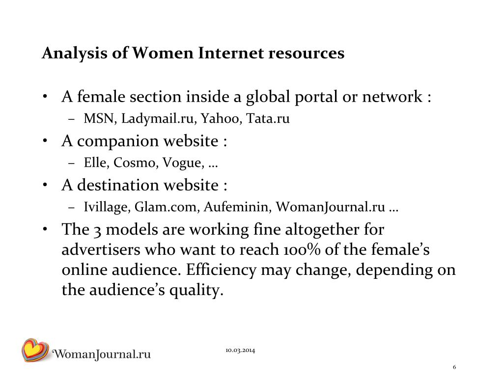 Analysis of Women Internet resources