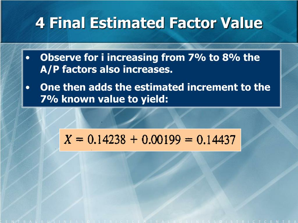 4 Final Estimated Factor Value