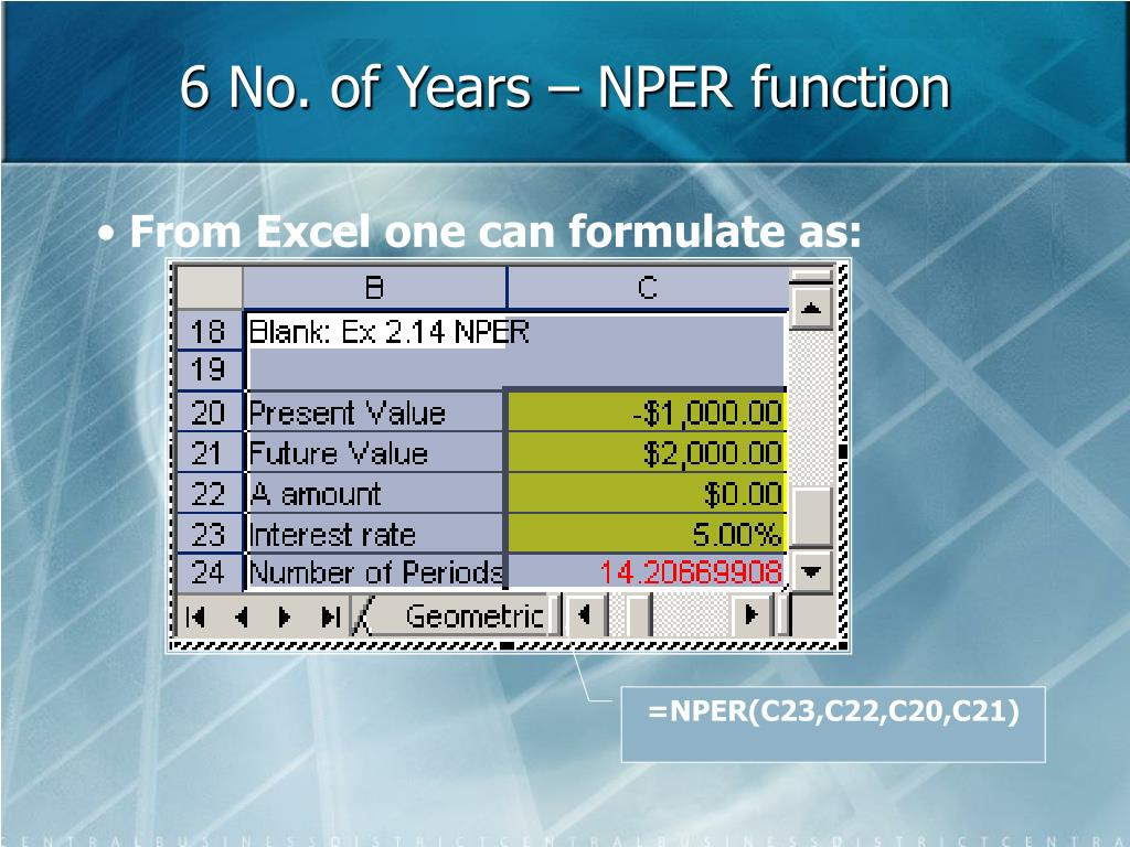 6 No. of Years – NPER function