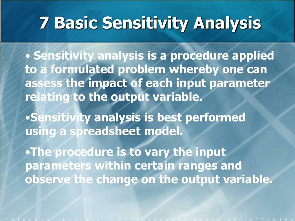 7 Basic Sensitivity Analysis
