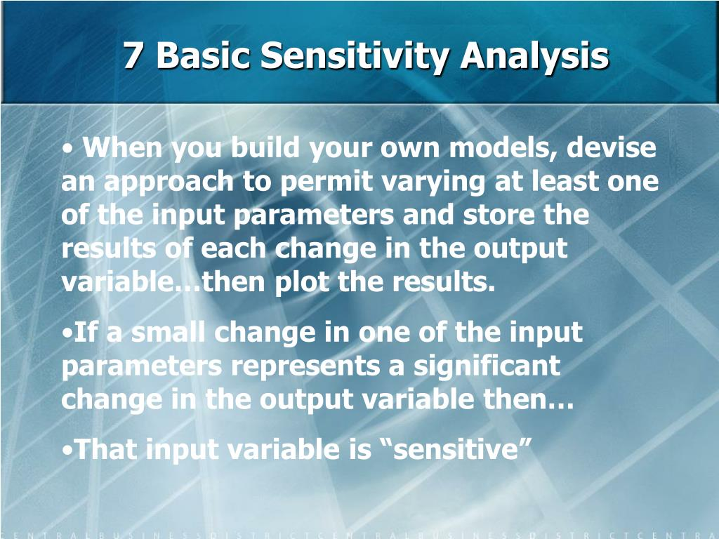 7 Basic Sensitivity Analysis